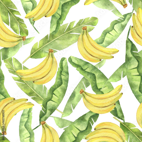 Watercolor seamless pattern with tropical green leaves and yellow bananas isolated on white background. - 163768955