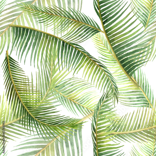 Watercolor seamless pattern with tropical leaves isolated on white background. - 163768982