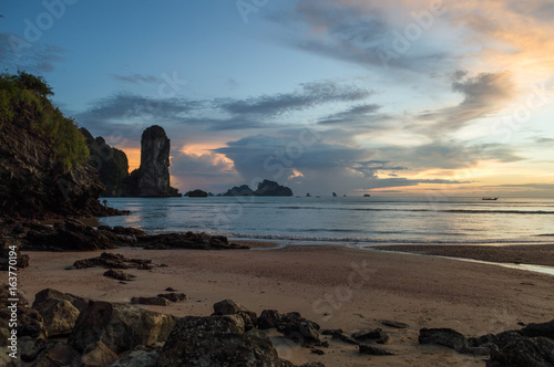 Ao Nang Beach Lime Stone Formations during Sunset, Krabi, Thailand