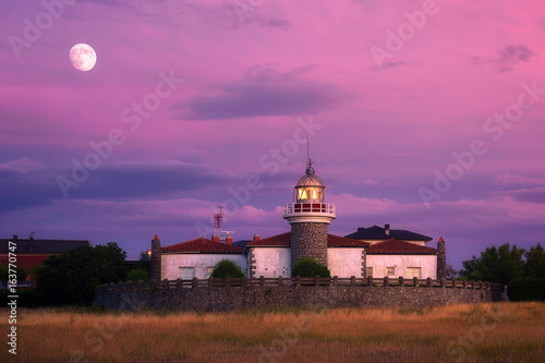 Getxo lighthouse at the evening