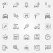 Rent a car icons set