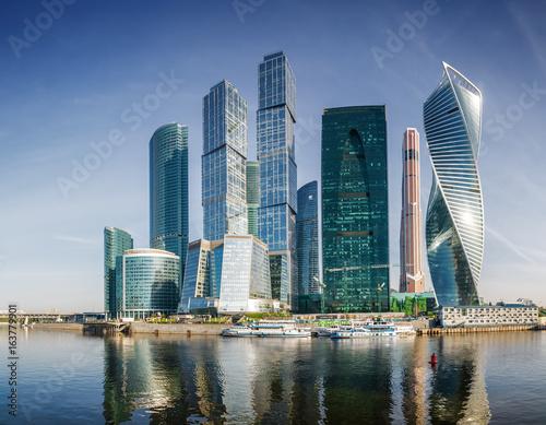 Ranku panoramiczny widok miasto - Międzynarodowy centrum biznesu, Moskwa, Rosja.