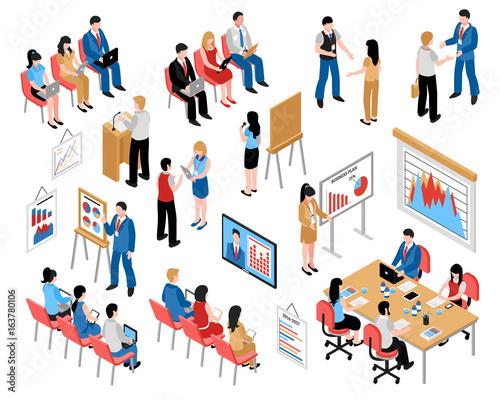 Business Education And Coaching Isometric Icons Set