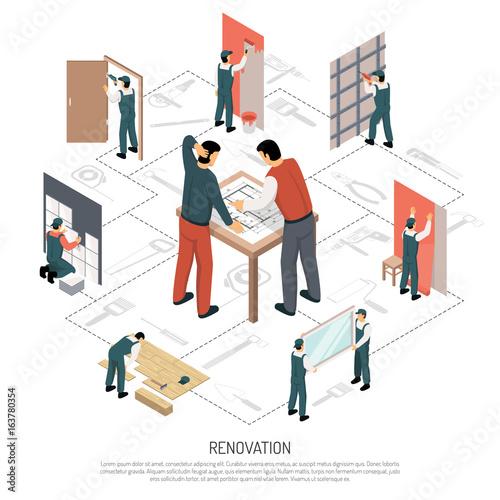 Isometric Renovation Infographics