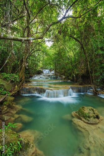 Level 1 of Huay Mae Kamin waterfall in Khuean Srinagarindra National Park, Kanchanaburi, Thailand - 163787183