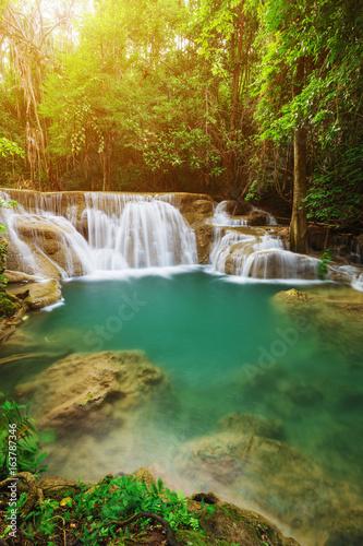 Huay Mae Kamin waterfall in Khuean Srinagarindra National Park, Kanchanaburi, Thailand - 163787346