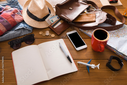 Set of travel things on wooden background Poster