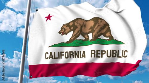 Waving flag of California. 3D rendering