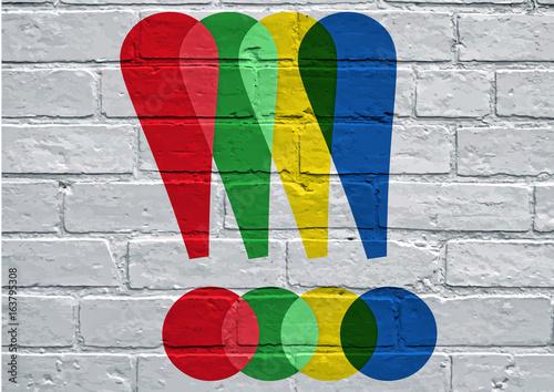 Graffiti, points d'exclamation multicolore