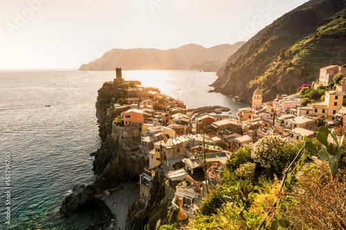 Ausblick über Vernazza und das Mittelmeer, Cinque Terre, Liguria, Italien Poster