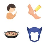 cinematograph, medicine, cosmetology and other web icon in cartoon style., rice, mask, Superman icons in set collection.
