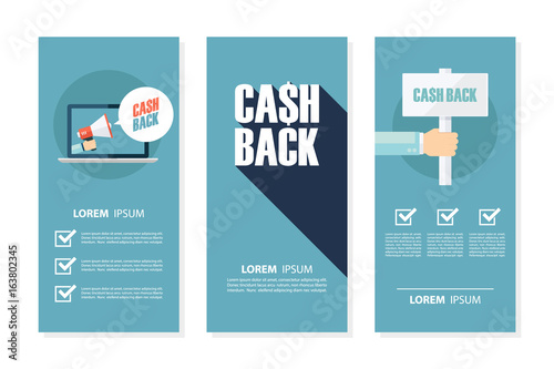 Money cash back flyers set for business, commerce, promotion and advertising. Flat design vector illustration.