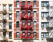 Exterior view of old apartment buildings in New York City