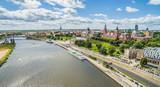 Szczecin - rzeka Odra i Bulwar Chrobrego. Krajobraz Szczecina z lotu ptaka z widocznymi Wałami Chrobrego. - 163815347