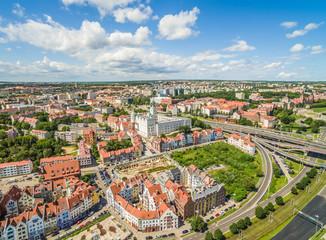 Szczecin - krajobraz starego miasta z zamkiem. Szczecin z lotu ptaka.