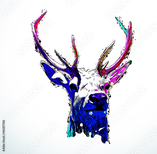 Colorful abstract design deer head
