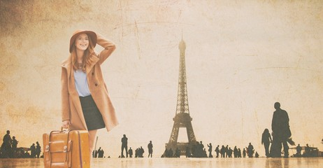 Redhead girl with suitcase and Eiffel tower