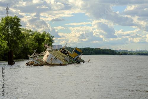 Sunken ship on the Dnieper River in Ukraine.