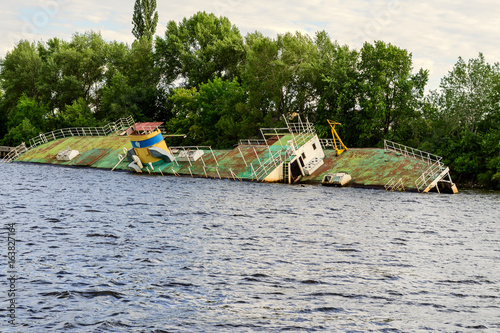 Sunken ship on the Dnieper River in Ukraine.