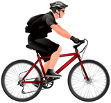Mountain Bike Racer, cyclist biker with backpack, Bicycle race, Ecotourism, bicycle tourism