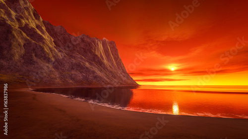 Fotobehang Rood traf. beautiful fantasy sunset over the ocean