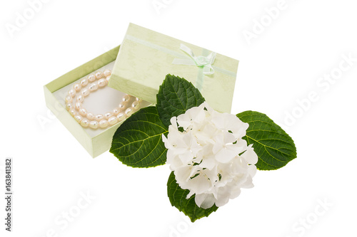 White hydrangea and gift box with pearls