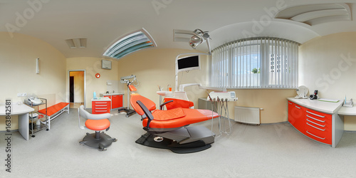 Poster Equidistant spherical projection interior inside dental office beige and orange