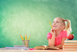 Little Student Thinking In Classroom - 163845744