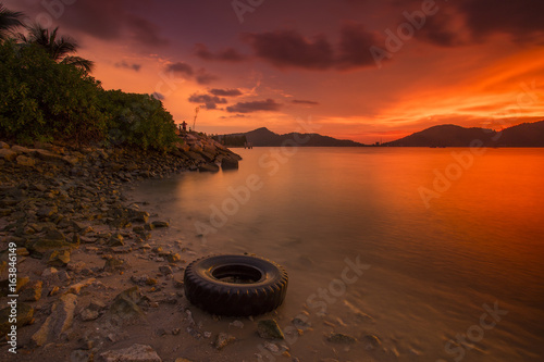 scenery of sunset at marina island,malaysia.soft focus,motion blur due to long exposure