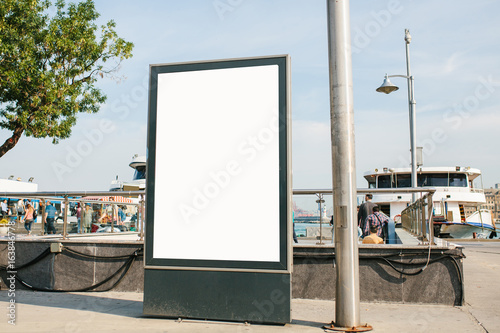 An empty billboard for advertising on the street near the seaport in Istanbul, Turkey Poster