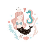 Cute illustration with mermaid and seahorse. Childish print with marine elements. Perfect for poster, card,kids apparel,bags. Vector Illustration - 163846902