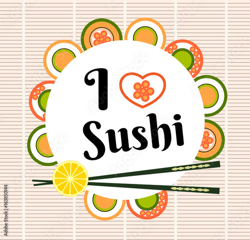 Fototapeta Sushi and chopsticks holding sushi roll flat