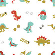 Seamless cartoon dinosaurs pattern. Vector dino background for kids design. - 163850542