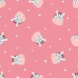 Cute zebras pattern. Vector seamless background for kids. Baby print.
