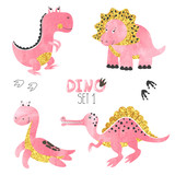 Cute little dinosaurs set in pink, golden and black colors. Vector collection for kids design.