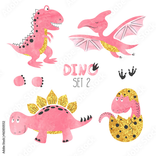 Fototapeta Cute little dinosaurs set in pink, golden and black colors. Vector collection for kids design.