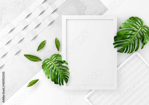 Clean and minimal advertising space with a white photo frame and green leaves. 3D illustration render.