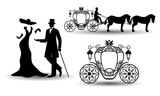 Vintage Luxury Wedding Set Lady Gentleman And The Coach Old Elements  Carriage For Design Greeting Cards Covers Posters Invitations  Illustration Wall Sticker
