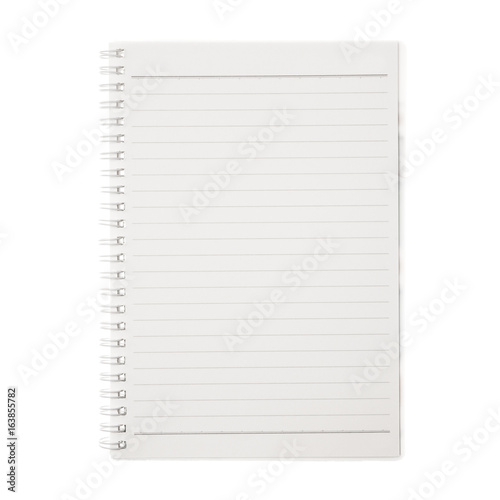 Blank notebook isolated on white background. Poster