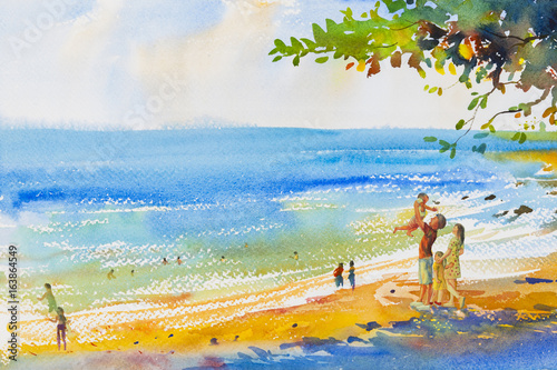 Painting colorful of beach and family in emotion cloud background. © Painterstock
