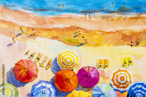 Obraz Painting watercolor seascape colorful of lovers, family vacation.