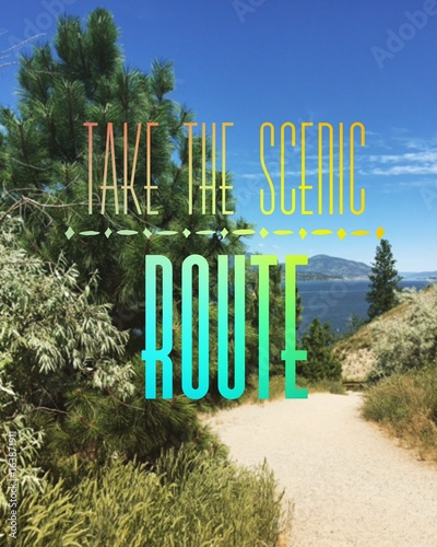 Motivational quote on scenic lake landscape Photo by Joanne