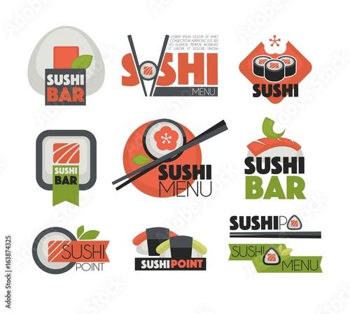 Sushi bar or Japanese restaurant chopsticks vector flat labels templates