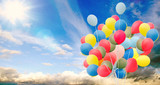 Happiness, summer, wedding, birthday, honeymoon party: Multicolor ballons, blue sky, clouds and sun :) - 163874507