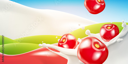 Splashing milk realistic vector illustration with falling cherry. - 163880357