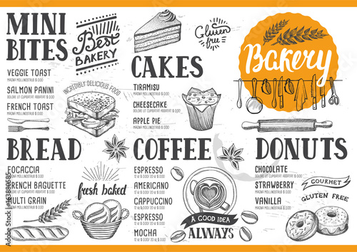 Bakery menu restaurant, food template. - 163880585