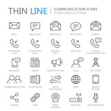 Collection of communication thin line icons - 163883138