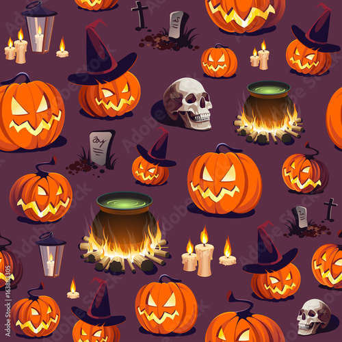 Cotton fabric Seamless Halloween Pattern with Pumpkin, Skull and Lantern on dark background.
