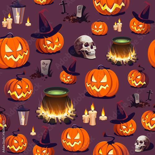 Materiał do szycia Seamless Halloween Pattern with Pumpkin, Skull and Lantern on dark background.