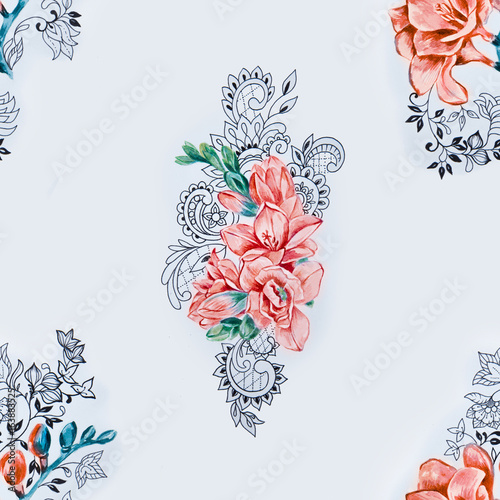 Seamless pattern of orange freesia on a white background. - 163883525